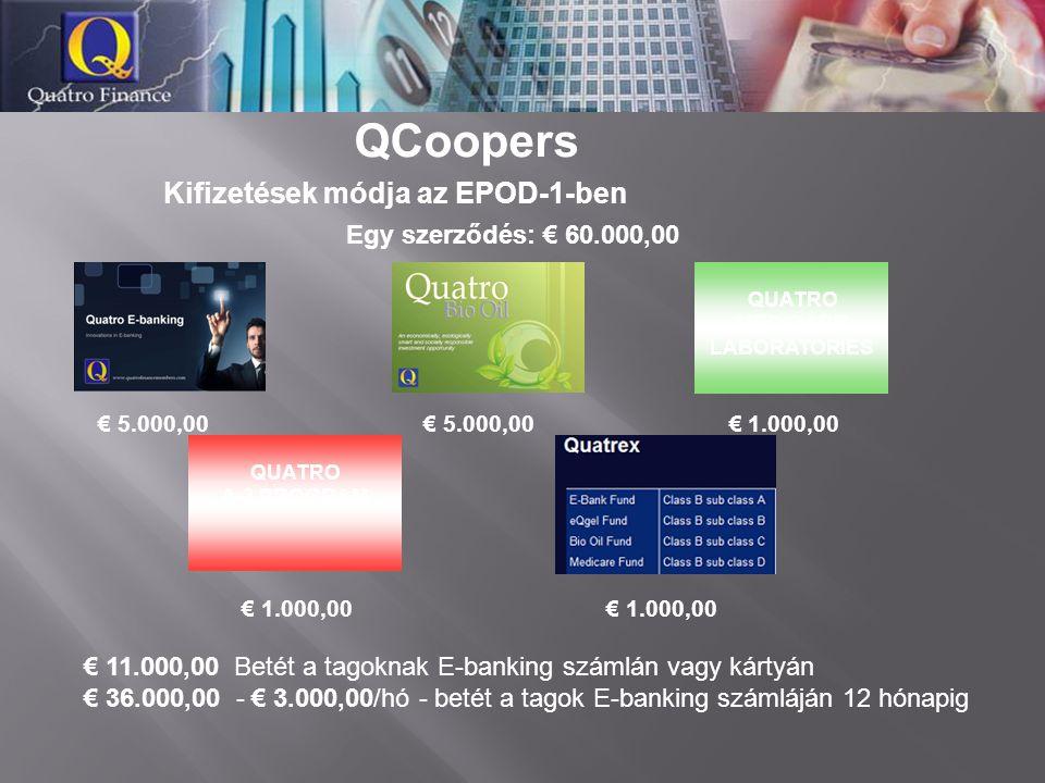 QCoopers Egy szerződés: € 60.000,00 € 5.000,00 € 5.000,00 € 1.000,00 € 1.000,00 € 1.000,00 € 11.000,00 Betét a tagoknak E-banking számlán vagy kártyán
