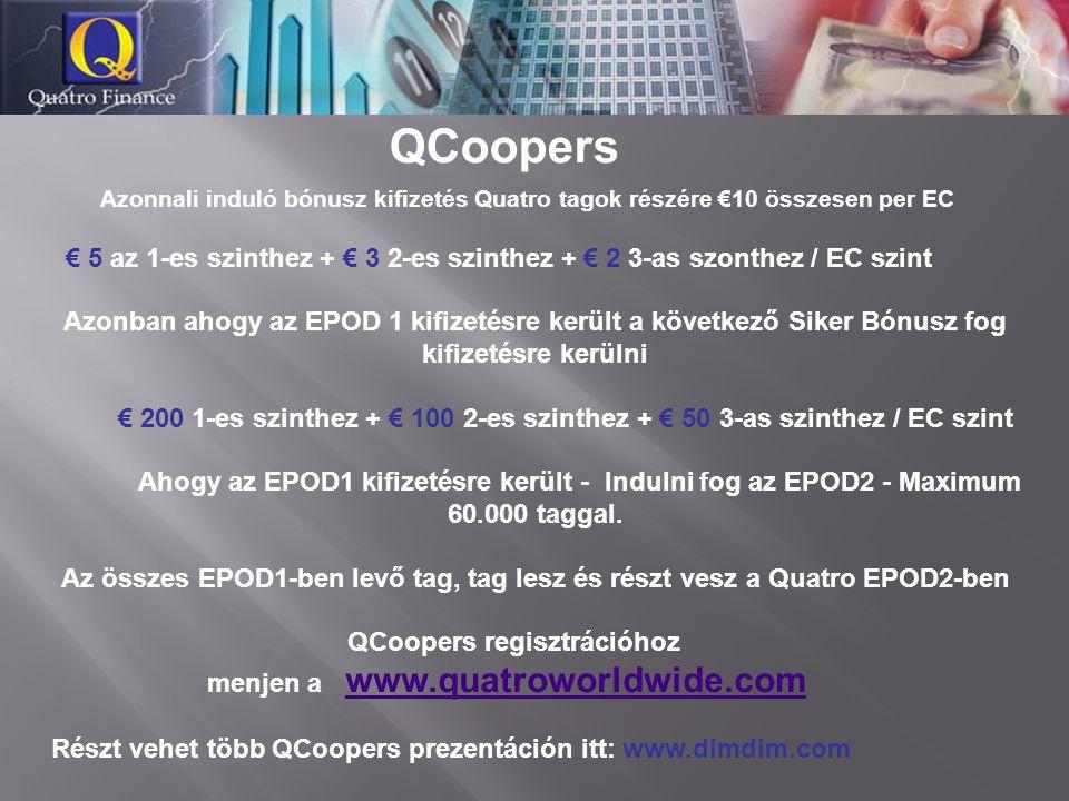 Azonnali induló bónusz kifizetés Quatro tagok részére €10 összesen per EC € 5 az 1-es szinthez + € 3 2-es szinthez + € 2 3-as szonthez / EC szint Azonban ahogy az EPOD 1 kifizetésre került a következő Siker Bónusz fog kifizetésre kerülni € 200 1-es szinthez + € 100 2-es szinthez + € 50 3-as szinthez / EC szint Ahogy az EPOD1 kifizetésre került - Indulni fog az EPOD2 - Maximum 60.000 taggal.