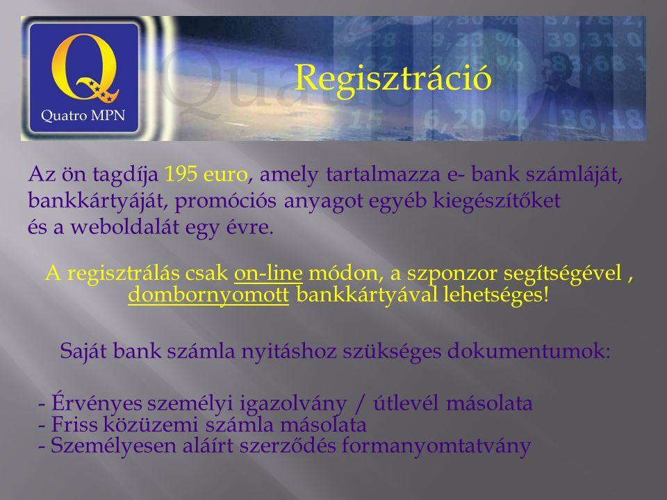 Regisztráció Az ön tagdíja 195 euro, amely tartalmazza e- bank számláját, bankkártyáját, promóciós anyagot egyéb kiegészítőket és a weboldalát egy évre.