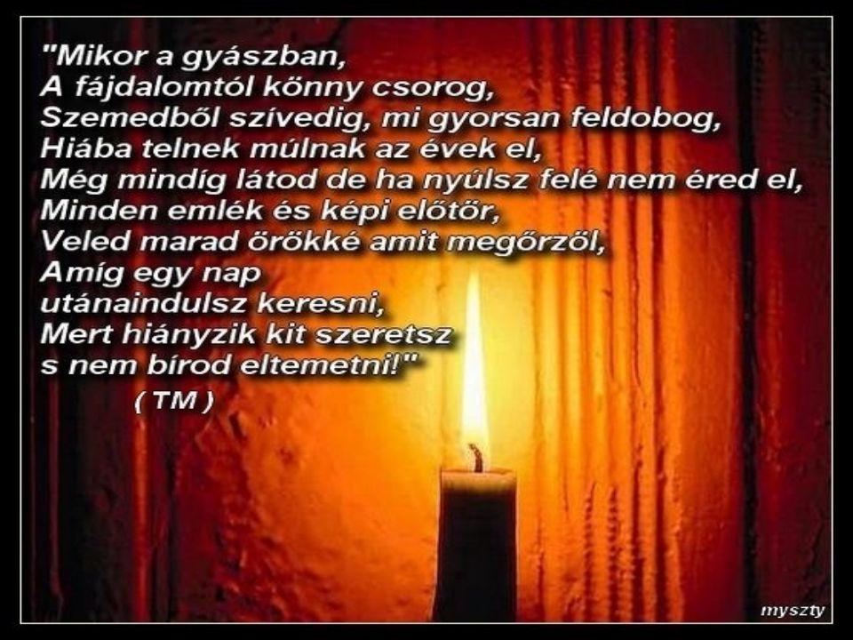 Ezen a napon minden más Újra mélyen érint meg a gyász Nincs már velünk együtt Kit ismertünk vagy szerettünk Ma lélekben újra együtt lehetünk.