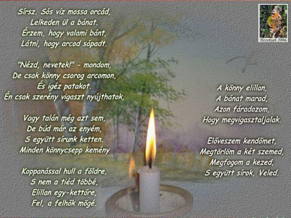 Halottja van mindannyinknak, Hisz percről-percre temetünk, Vesztett remény mindenik percünk És gyászmenet az életünk.