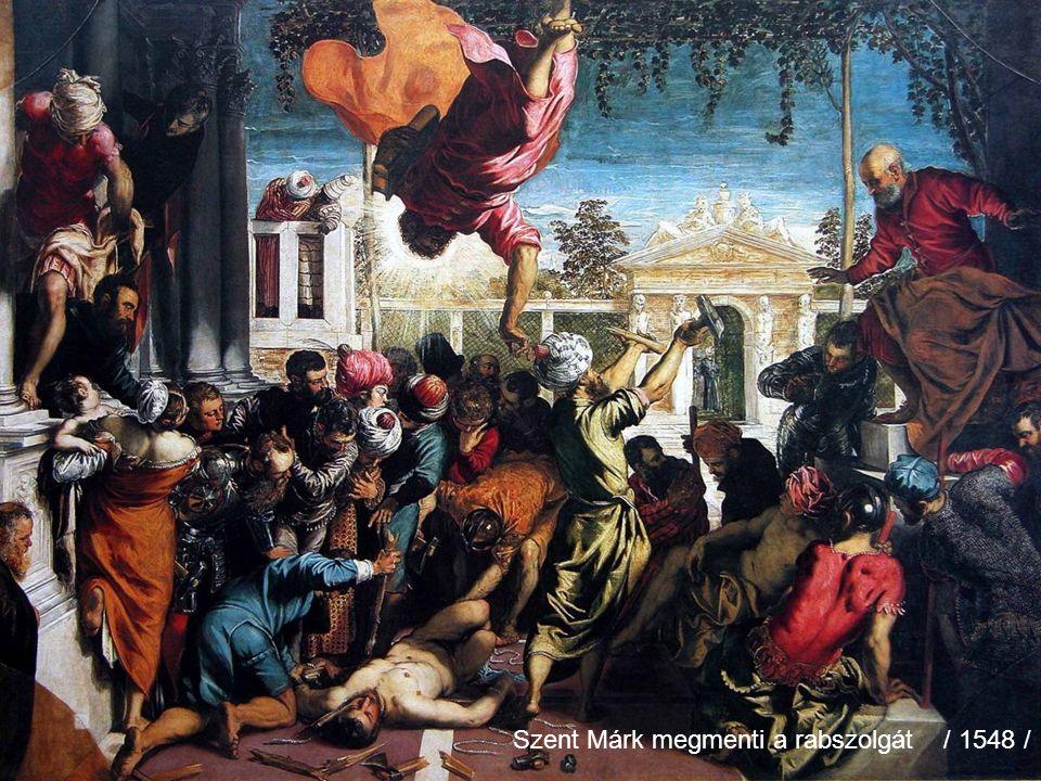 Jacopo Tintoretto Szül:Velence 1519 Elhunyt:Velence 1594. 05. 31. Olasz festő Tanult B. Veronese és P. Bordone műhelyében. Dolgozott Tiziáno mellett i