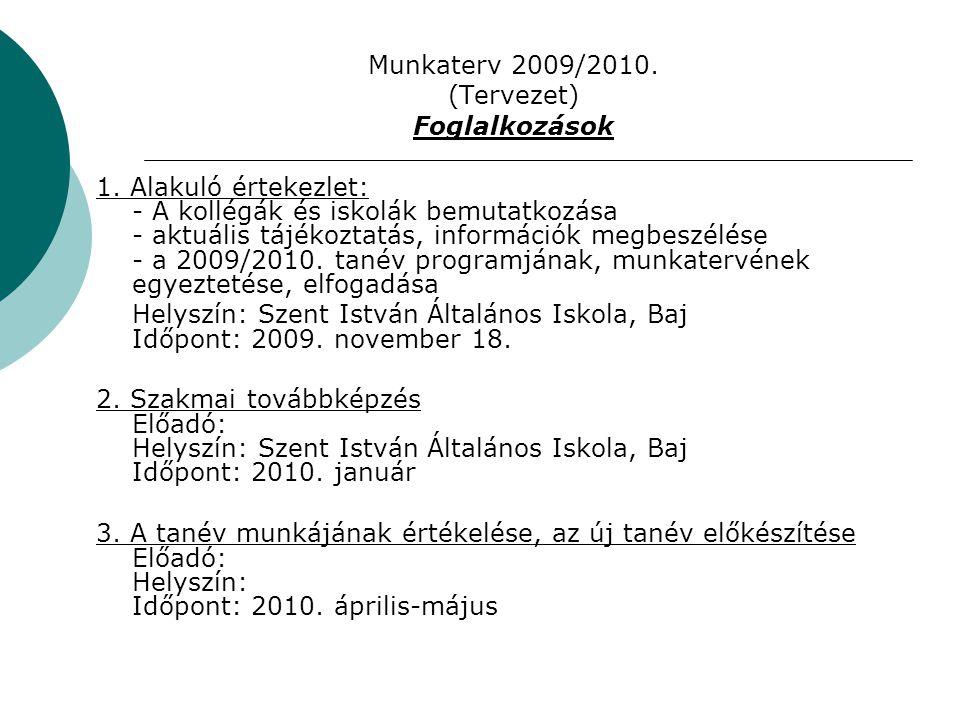 Munkaterv 2009/2010. (Tervezet) Foglalkozások 1.