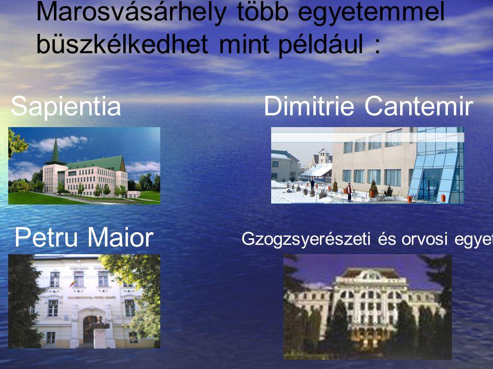Marosvásárhely több egyetemmel büszkélkedhet mint például : SapientiaDimitrie Cantemir Petru Maior Gzogzsyerészeti és orvosi egyetem