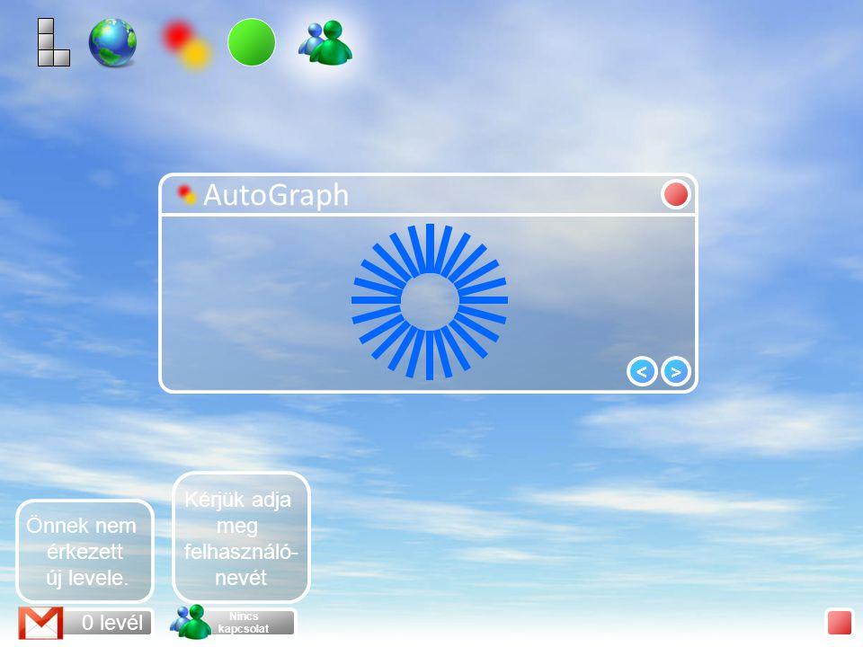 AutoGraph >< 0 levél Nincs kapcsolat Önnek nem érkezett új levele.