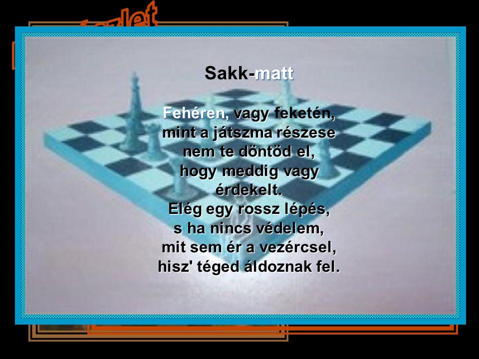 Sakk-matt Fehéren, vagy feketén, mint a játszma részese nem te döntöd el, hogy meddig vagy érdekelt.