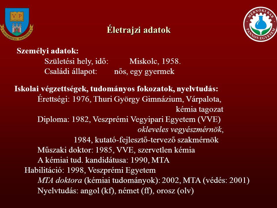 Munkahelyi adatok: 1982-84 VVE, Általános és Szervetlen Kémia Tanszék doktori ösztöndíjas 1984-88 u.o.egyetemi tanársegéd 1989-93u.o.
