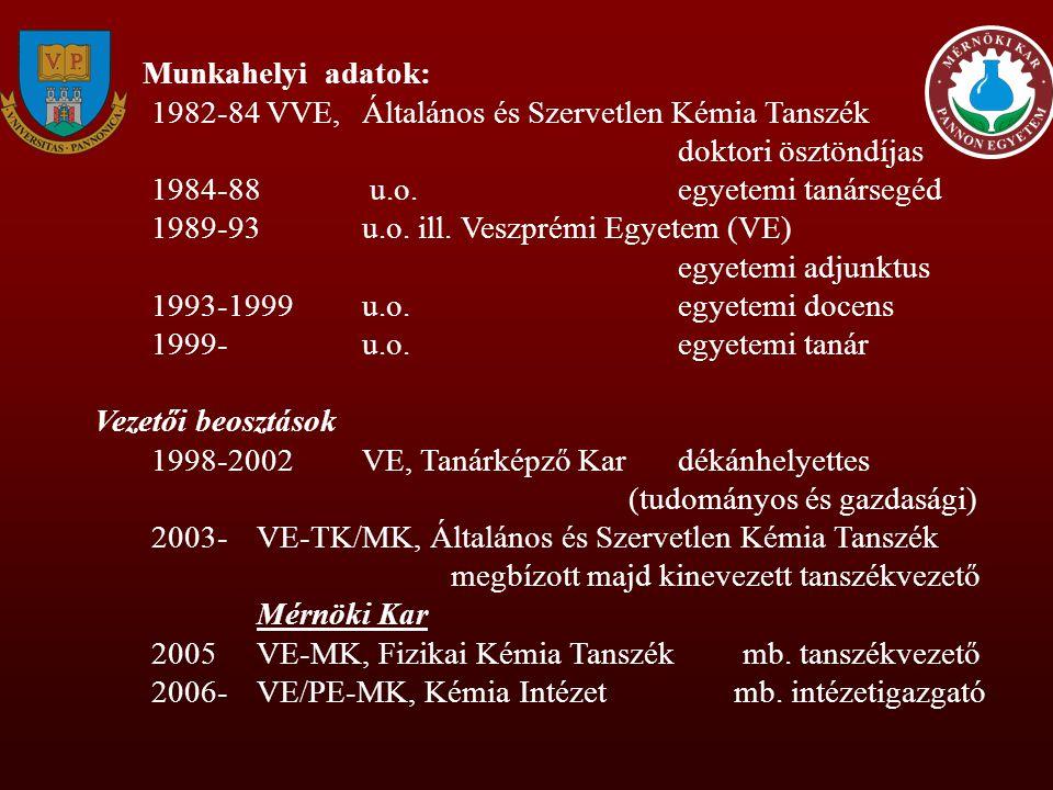 Munkahelyi adatok: 1982-84 VVE, Általános és Szervetlen Kémia Tanszék doktori ösztöndíjas 1984-88 u.o.egyetemi tanársegéd 1989-93u.o. ill. Veszprémi E