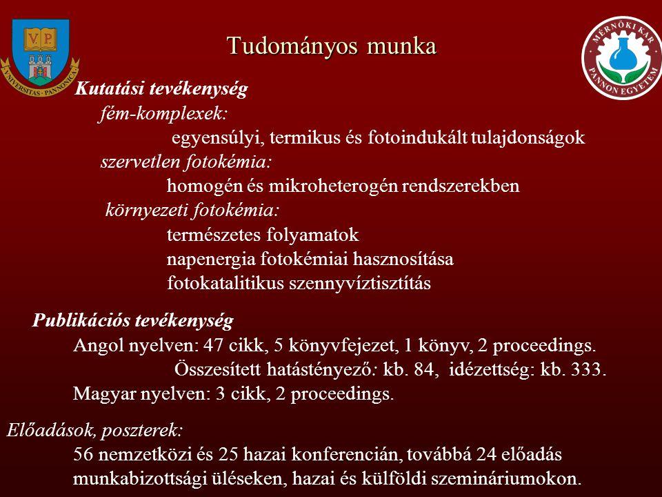 Tudományos közéleti tevékenység Egyesületi, munkabizottsági tagságok Magyar Kémikusok Egyesülete (1982-) European Photochemistry Association (1987-) Magyarországi Humboldt Egyesület (1994-) MTA Reakciókinetikai és fotokémiai mb.