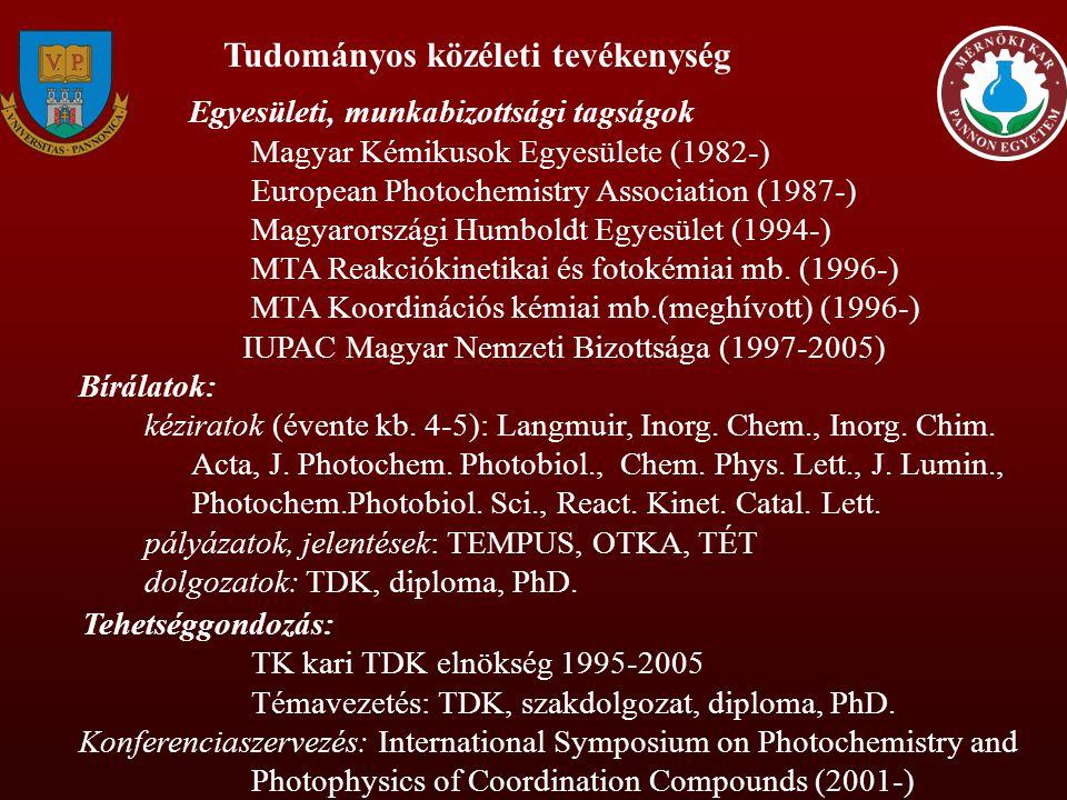 Külföldi tanulmányutak Németország Technische Hochschule Merseburg, 1987, 1 hónap: réz(I)-klorokomplexek villanófény fotolízise Universität Regensburg, 1992-93 (1 év), 1997 (3 hónap), 1999 (3 hónap) (Alexander von Humboldt Ösztöndíj): higany-komplexek fotokémiai vizsgálata Egyesült Államok Indiana University - Purdue University at Fort Wayne, IN, 1988 (3 hónap), 1990 (1,5 hónap),1995 (2 hónap), 2001 (6 hét): fém-komplexek fotoredoxi reakciói Syracuse University, NY, 1991-92 (1 év) (Széchenyi István Ösztöndíj): fotokémiai vizsgálatok homogén és mikroheterogén rendszerekben