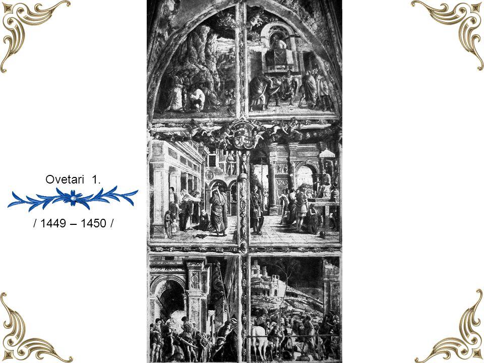 Andrea Mantegna Született: Vincenzában 1431 Elhunyt: Mantovában 1506.szeptember.13 A padovai Francesco Squarcione ( 1397 – 1468 ) 1441 – ben vette fel