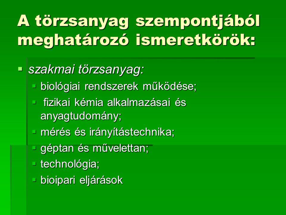 A törzsanyag szempontjából meghatározó ismeretkörök:  szakmai törzsanyag:  biológiai rendszerek működése;  fizikai kémia alkalmazásai és anyagtudomány;  mérés és irányítástechnika;  géptan és művelettan;  technológia;  bioipari eljárások