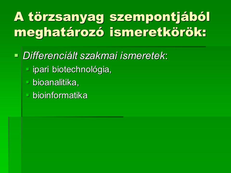 A törzsanyag szempontjából meghatározó ismeretkörök:  Differenciált szakmai ismeretek:  ipari biotechnológia,  bioanalitika,  bioinformatika