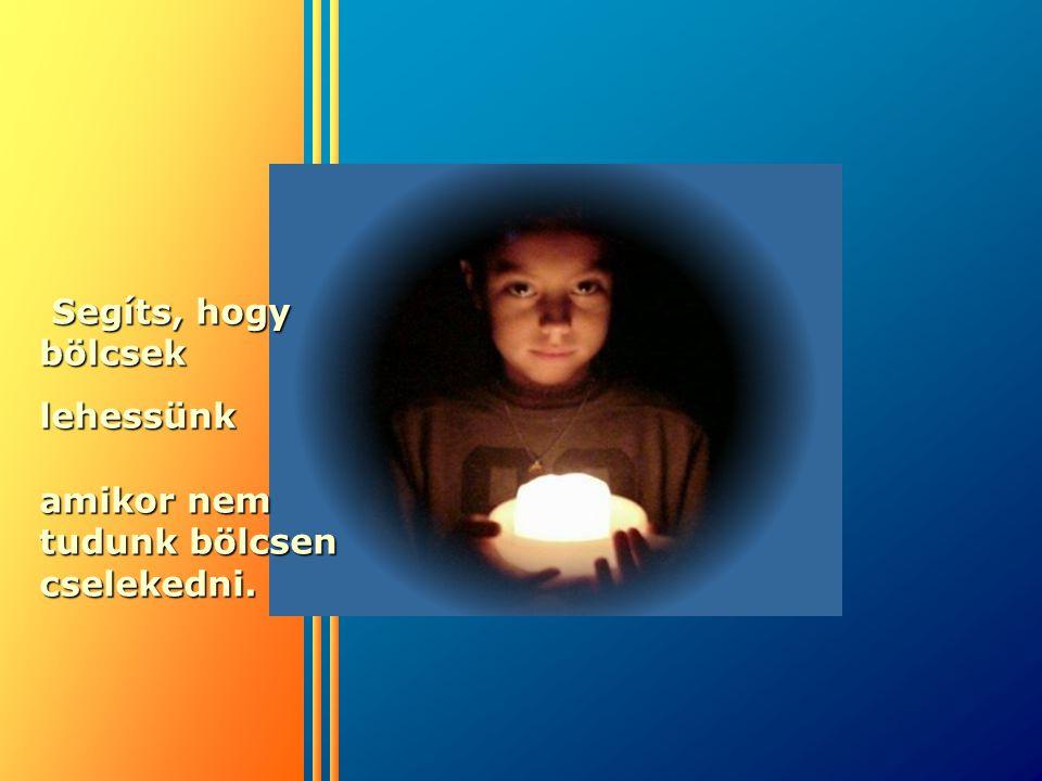 Segíts, hogy bölcsek Segíts, hogy bölcseklehessünk amikor nem tudunk bölcsen cselekedni.