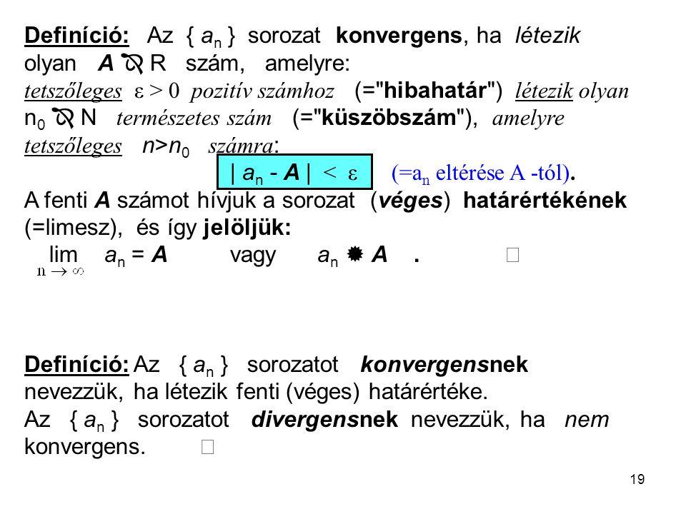 19 Definíció: Az { a n } sorozat konvergens, ha létezik olyan A  R szám, amelyre: tetszőleges ε > 0 pozitív számhoz (= hibahatár ) létezik olyan n 0  N természetes szám (= küszöbszám ), amelyre tetszőleges n>n 0 számra : | a n - A | < ε (=a n eltérése A -tól).
