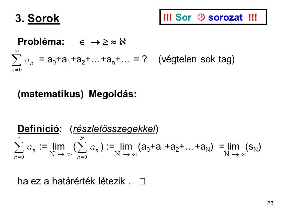 23 3. Sorok !!. Sor  sorozat !!. Probléma:      = a 0 +a 1 +a 2 +…+a n +… = .