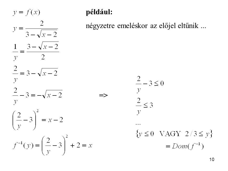 10 például: négyzetre emeléskor az előjel eltűnik... =>