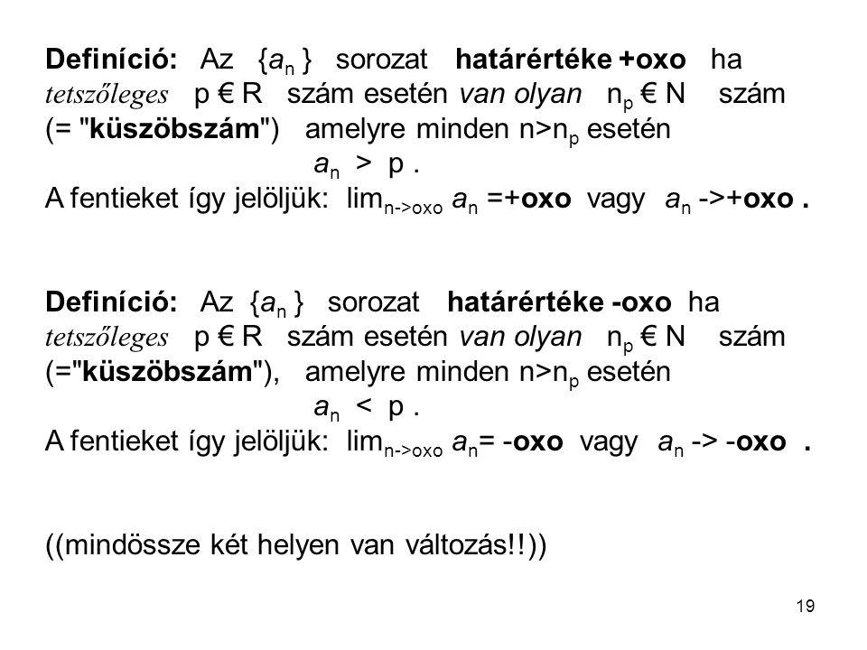 19 Definíció: Az {a n } sorozat határértéke +oxo ha tetszőleges p € R szám esetén van olyan n p € N szám (=