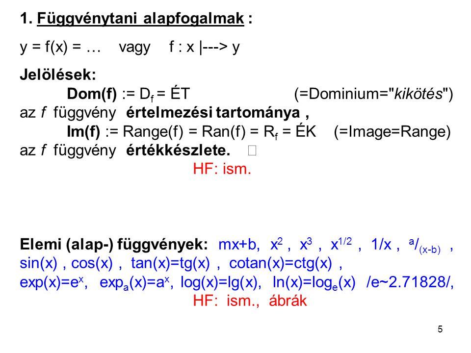 5 1. Függvénytani alapfogalmak : y = f(x) = … vagy f : x |---> y Jelölések: Dom(f) := D f = ÉT (=Dominium=
