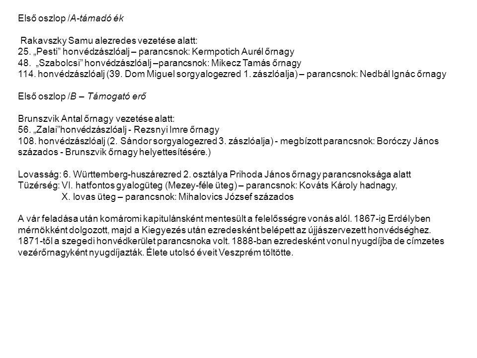 """Első oszlop /A-támadó ék Rakavszky Samu alezredes vezetése alatt: 25. """"Pesti"""" honvédzászlóalj – parancsnok: Kermpotich Aurél őrnagy 48. """"Szabolcsi"""" ho"""