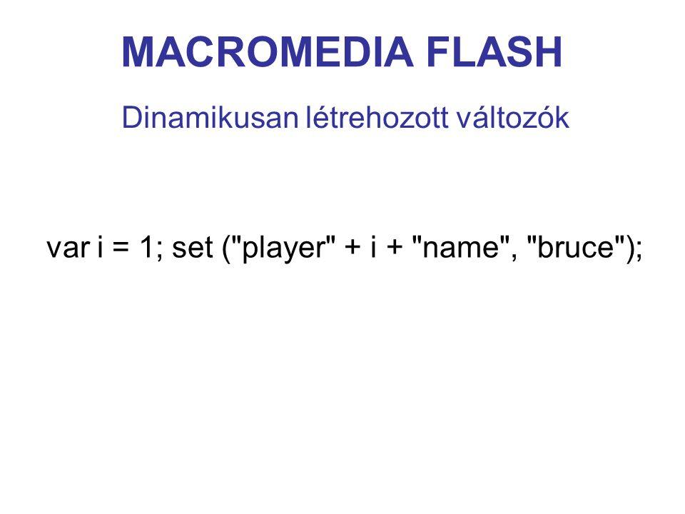 MACROMEDIA FLASH Dinamikusan létrehozott változók var i = 1; set (