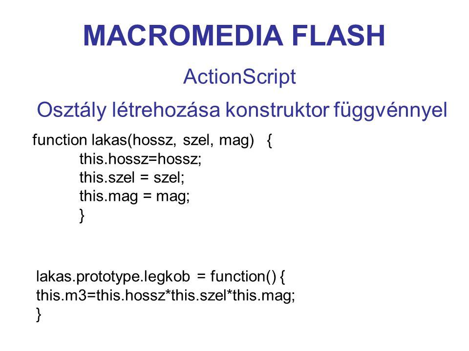 MACROMEDIA FLASH ActionScript Osztály létrehozása konstruktor függvénnyel function lakas(hossz, szel, mag) { this.hossz=hossz; this.szel = szel; this.mag = mag; } lakas.prototype.legkob = function() { this.m3=this.hossz*this.szel*this.mag; }