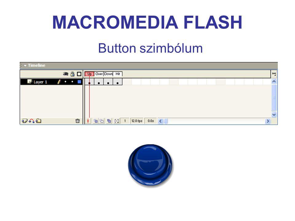 MACROMEDIA FLASH Elnevezési konvenciók toldalékadattípus _mcMovieClip _arrayArray _strString _btnButton _txtTextField _fmtTextFormat _dateDate _soundSound _xmlXML _xmlsocketXMLSocket _colorColor _videoVideo