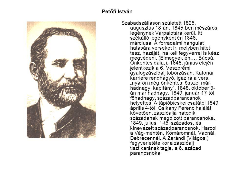Petőfi István Szabadszálláson született 1825. augusztus 18-án. 1845-ben mészáros legénynek Várpalotára kerül. Itt székálló legényként éri 1848. márciu