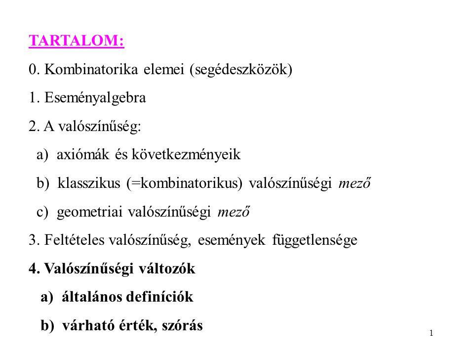 1 TARTALOM: 0. Kombinatorika elemei (segédeszközök) 1.
