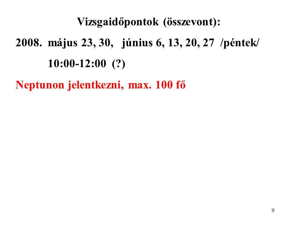 9 Vizsgaidőpontok (összevont): 2008.