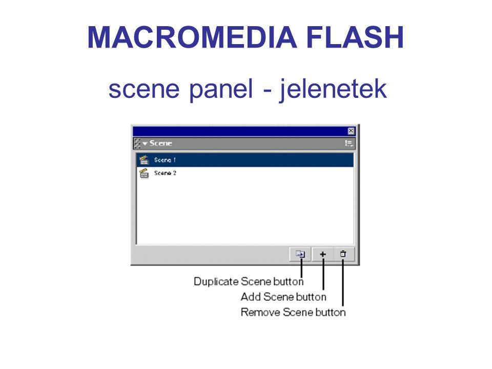 MACROMEDIA FLASH scene panel - jelenetek