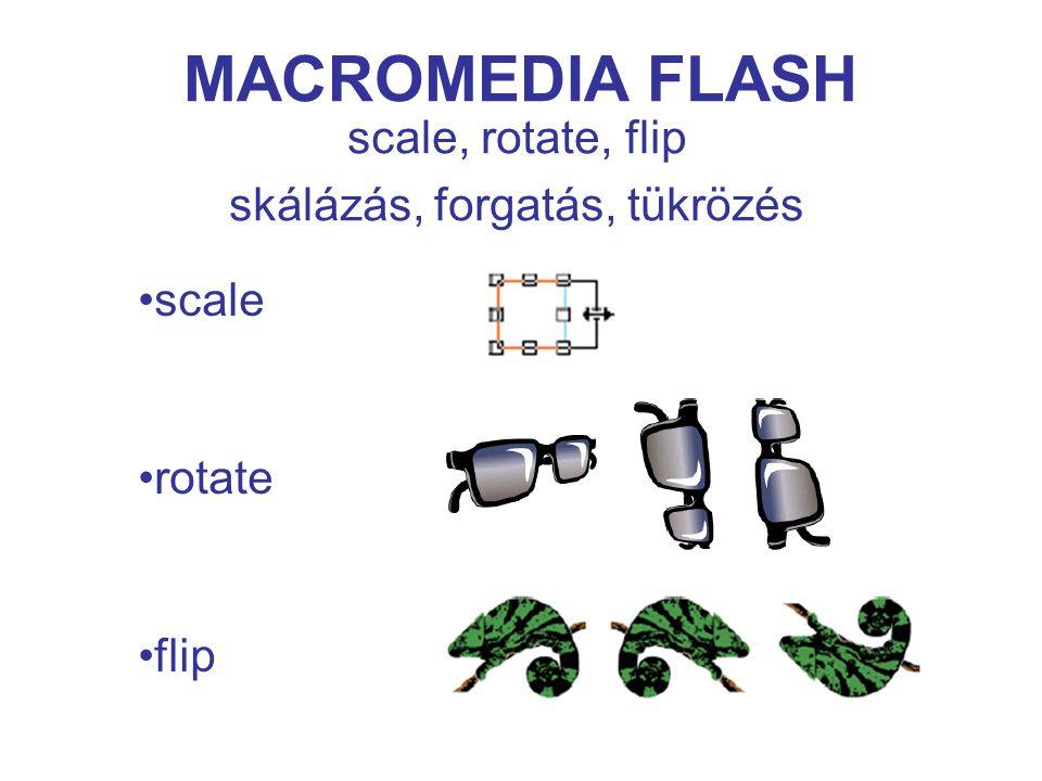 MACROMEDIA FLASH scale, rotate, flip skálázás, forgatás, tükrözés scale rotate flip