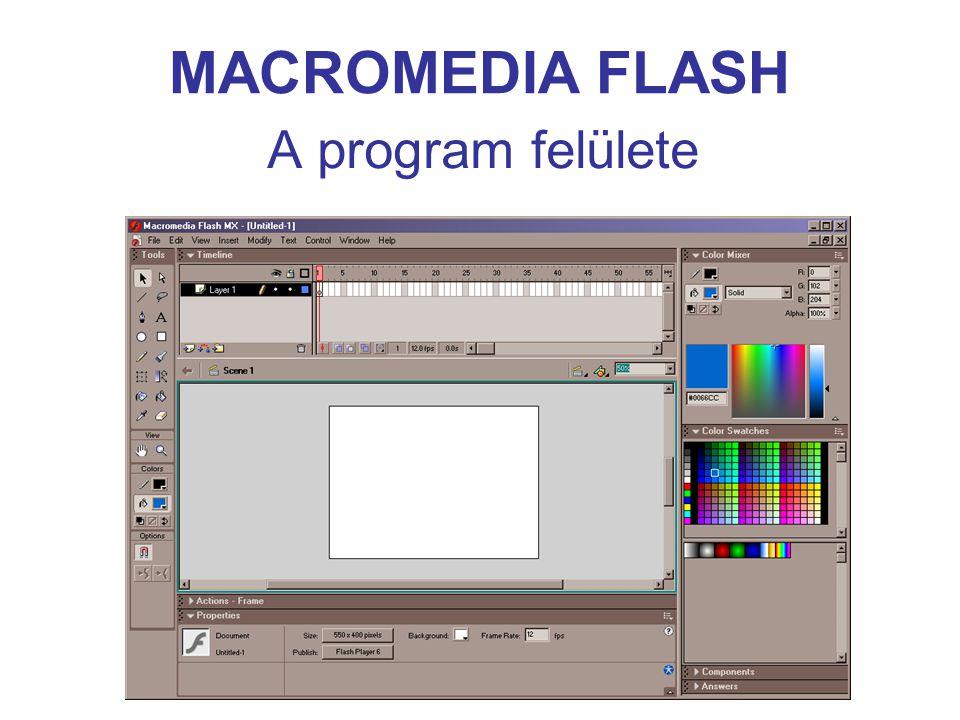 MACROMEDIA FLASH Animáció típusok Frame by frame – képkockánkénti Tween – key-frames, vagy kulcs-animáció –Motion – mozgás Along path – útvonal mentén –Shape – alakváltozás Shape hints – alak tippek