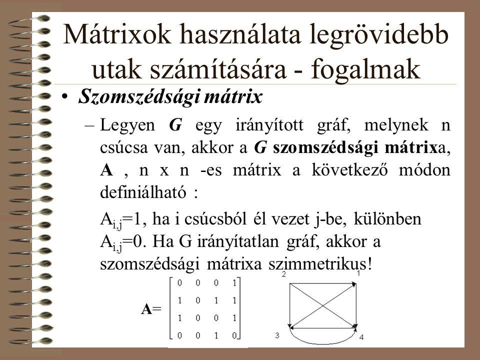 Mátrixok használata legrövidebb utak számítására - fogalmak Szomszédsági mátrix –Legyen G egy irányított gráf, melynek n csúcsa van, akkor a G szomszé