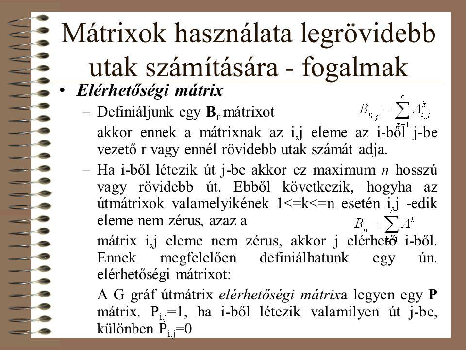 Mátrixok használata legrövidebb utak számítására - fogalmak Elérhetőségi mátrix –Definiáljunk egy B r mátrixot akkor ennek a mátrixnak az i,j eleme az