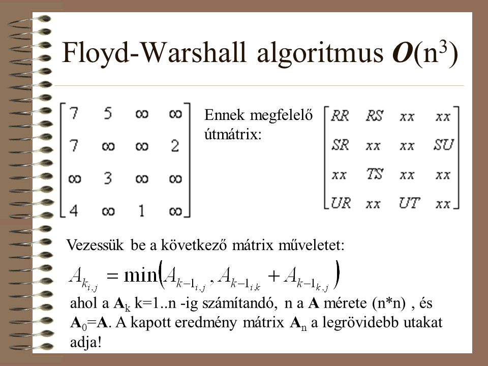 Floyd-Warshall algoritmus O(n 3 ) Ennek megfelelő útmátrix: Vezessük be a következő mátrix műveletet: ahol a A k k=1..n -ig számítandó, n a A mérete (