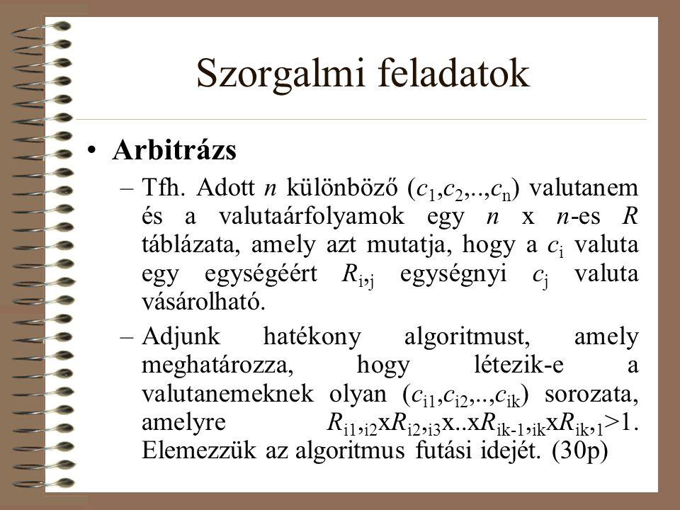 Szorgalmi feladatok Arbitrázs –Tfh. Adott n különböző (c 1,c 2,..,c n ) valutanem és a valutaárfolyamok egy n x n-es R táblázata, amely azt mutatja, h