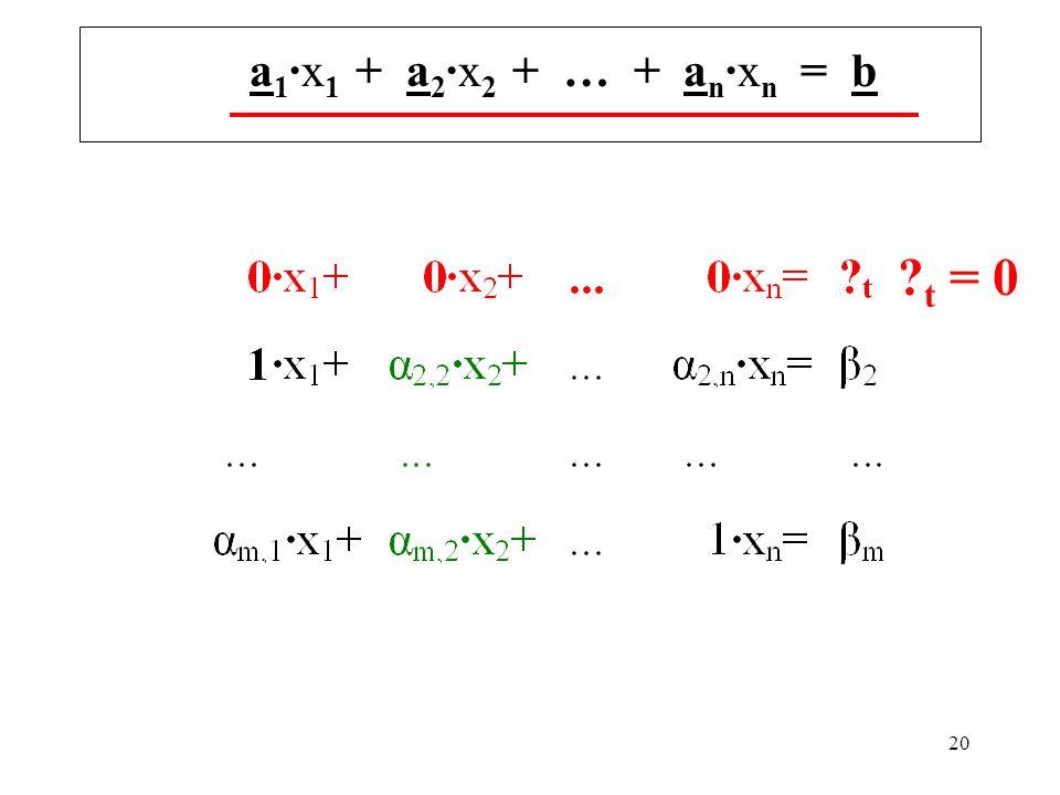 20 a 1 ·x 1 + a 2 ·x 2 + … + a n ·x n = b t = 0