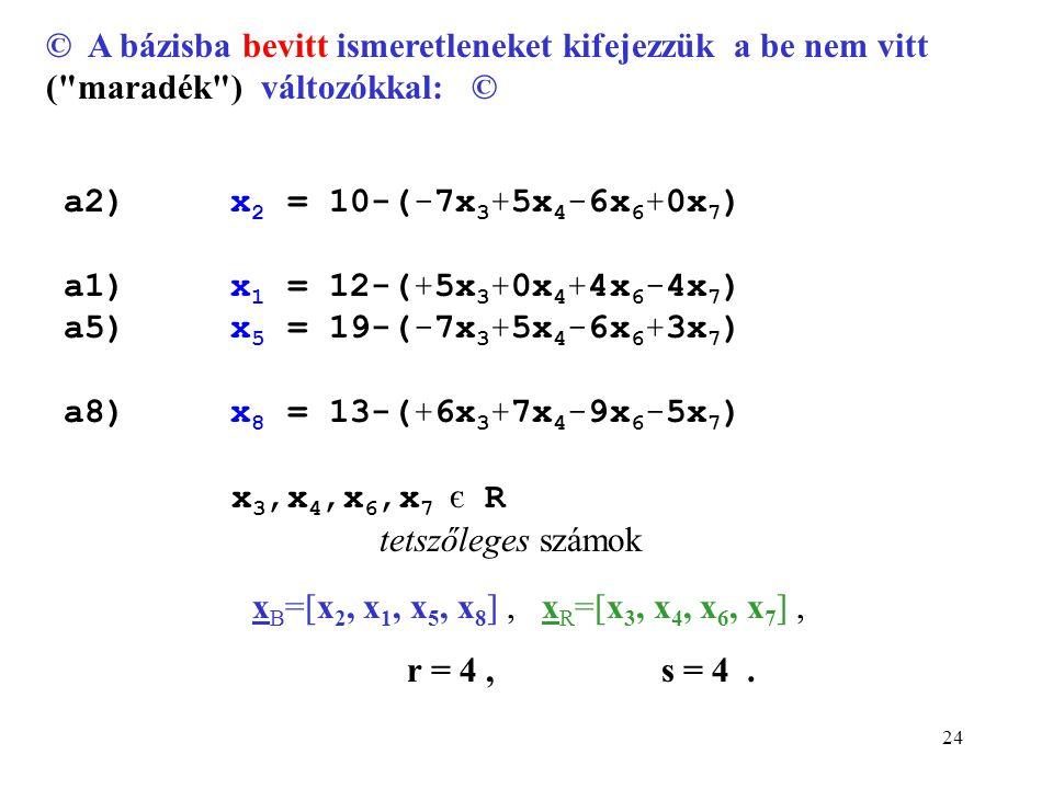 24 x B =[x 2, x 1, x 5, x 8 ], x R =[x 3, x 4, x 6, x 7 ], r = 4, s = 4.