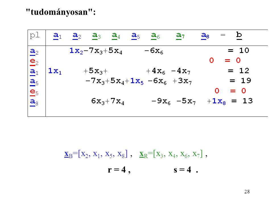 28 x B =[x 2, x 1, x 5, x 8 ], x R =[x 3, x 4, x 6, x 7 ], r = 4, s = 4. tudományosan :