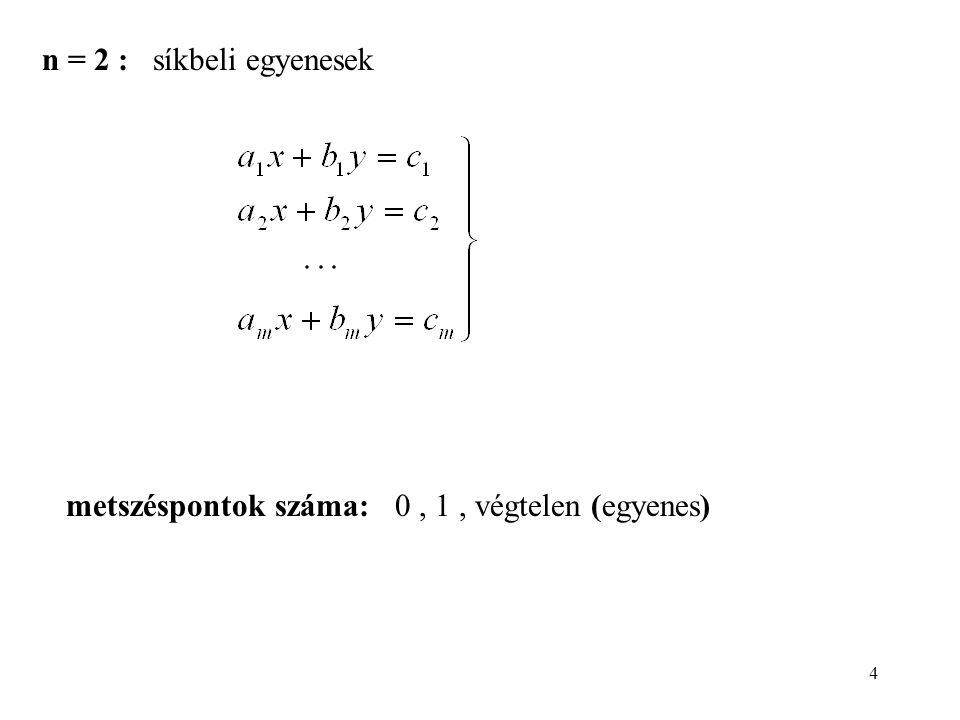 4 n = 2 : síkbeli egyenesek metszéspontok száma: 0, 1, végtelen (egyenes)