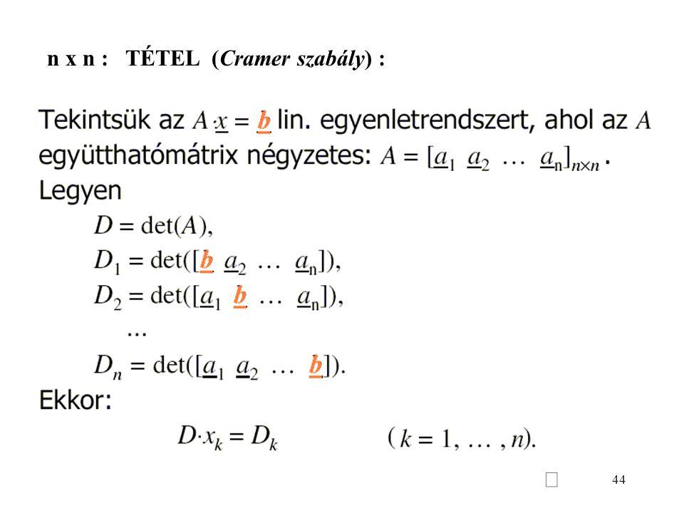 44 n x n : TÉTEL (Cramer szabály) :