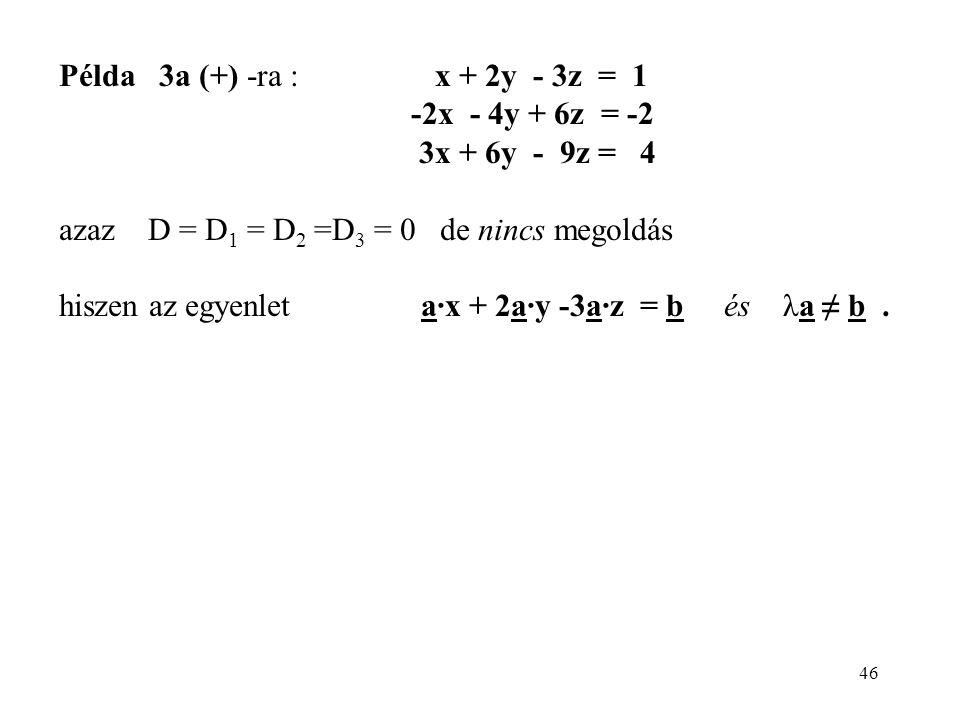 46 Példa 3a (+) -ra : x + 2y - 3z = 1 -2x - 4y + 6z = -2 3x + 6y - 9z = 4 azaz D = D 1 = D 2 =D 3 = 0 de nincs megoldás hiszen az egyenlet a·x + 2a·y -3a·z = b és λa ≠ b.