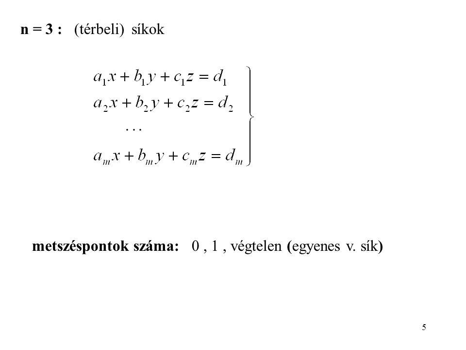 5 n = 3 : (térbeli) síkok metszéspontok száma: 0, 1, végtelen (egyenes v. sík)