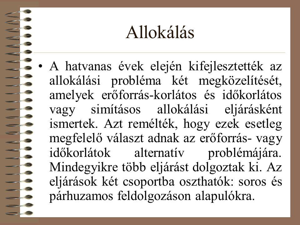 Allokálás A hatvanas évek elején kifejlesztették az allokálási probléma két megközelítését, amelyek erőforrás-korlátos és időkorlátos vagy simításos a