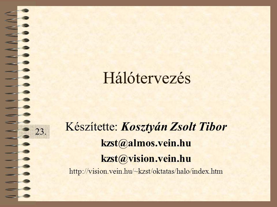 Hálótervezés Készítette: Kosztyán Zsolt Tibor kzst@almos.vein.hu kzst@vision.vein.hu http://vision.vein.hu/~kzst/oktatas/halo/index.htm 23.