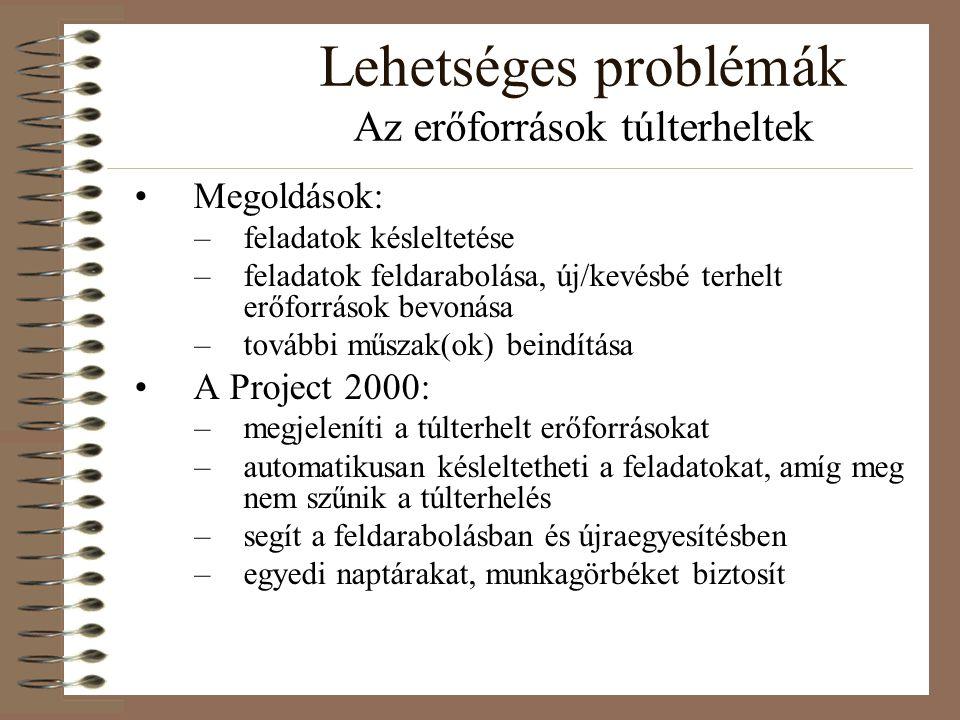 Lehetséges problémák Az erőforrások túlterheltek Megoldások: –feladatok késleltetése –feladatok feldarabolása, új/kevésbé terhelt erőforrások bevonása