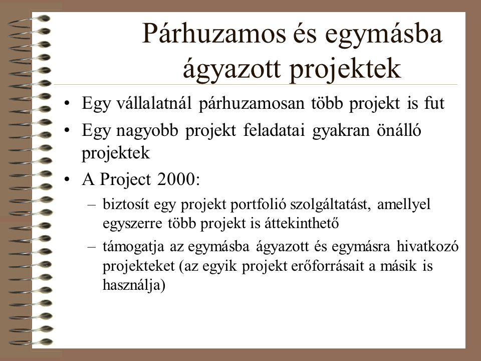 Párhuzamos és egymásba ágyazott projektek Egy vállalatnál párhuzamosan több projekt is fut Egy nagyobb projekt feladatai gyakran önálló projektek A Pr