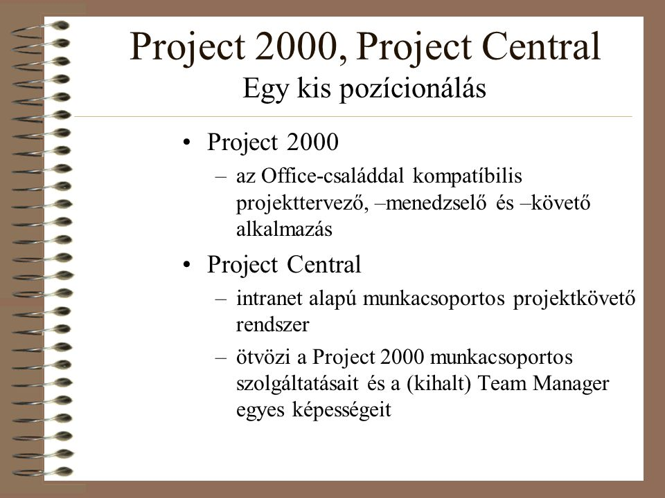 Project 2000, Project Central Egy kis pozícionálás Project 2000 –az Office-családdal kompatíbilis projekttervező, –menedzselő és –követő alkalmazás Pr