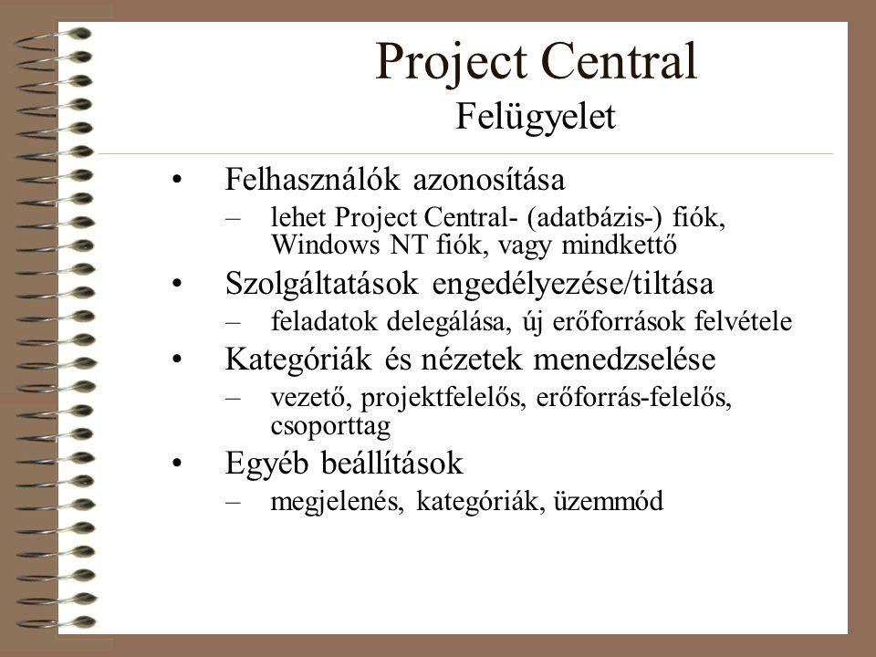 Project Central Felügyelet Felhasználók azonosítása –lehet Project Central- (adatbázis-) fiók, Windows NT fiók, vagy mindkettő Szolgáltatások engedély